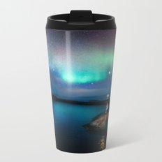 Aurora Borealis Over Coastal Waters Metal Travel Mug