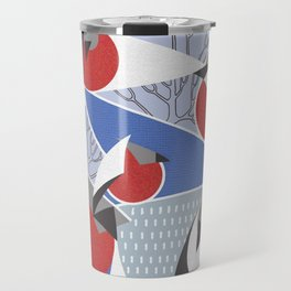 Birds bullfinches in blue, red and grey colors Travel Mug
