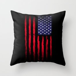 Vintage American flag on black Throw Pillow