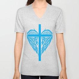 Christian cross and wings Unisex V-Neck