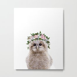 Baby Owl With Flower Crown, Baby Animals Art Print By Synplus Metal Print
