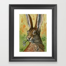 Funny Rabbits - One daisy for you 488 Framed Art Print