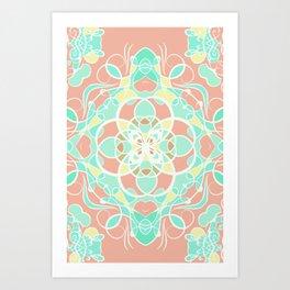 Mandala in pink pastel overlay Art Print