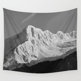 Portage Valley Mountain Glacier - B & W Wall Tapestry