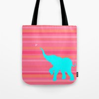 baby elephant Tote Bags featuring Baby Elephant by StudioBlueRoom