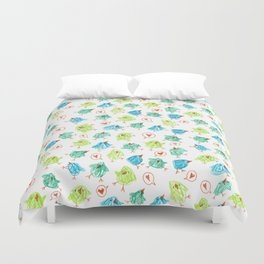 Scribble Birds Duvet Cover