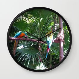 Macaws on the tree Wall Clock