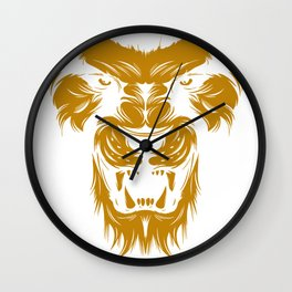 Stalking Lion Face Wall Clock