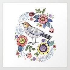 Romantic singing bird with flowers Art Print