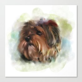 Yorkshire terrier puppy digital painting Canvas Print