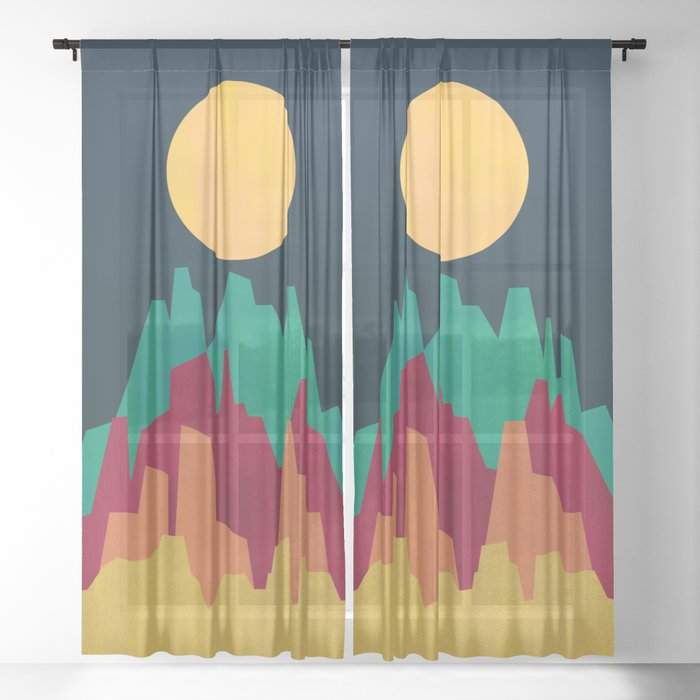 Rocky Landscape Sheer Curtain