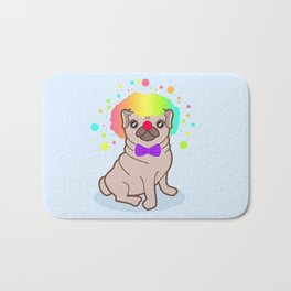 Pug dog in a clown costume Bath Mat