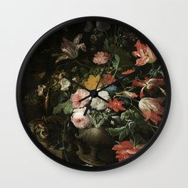 The Overturned Bouquet, Abraham Mignon, 1660 - 1679 Wall Clock