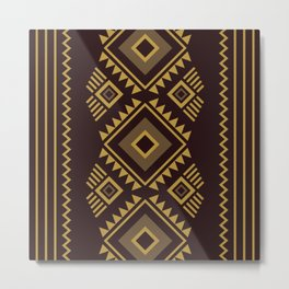 Brown geometric pattern Metal Print