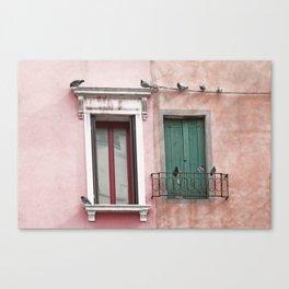 Venetian Windows and Pigeons Canvas Print
