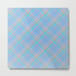 Colorful Plaid Pattern with Blue Background Metal Print