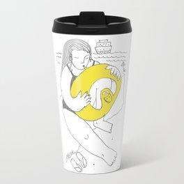 Girl inflating a swim ring Travel Mug