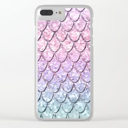 Mermaid Scales on Unicorn Girls Glitter #1 #shiny #pastel #decor #art #society6 Clear iPhone Case