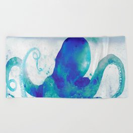 Octopus Watercolor Beach Towel