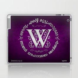 Joshua 24:15 - (Silver on Magenta) Monogram W Laptop & iPad Skin