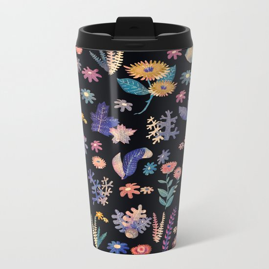 color flowers in the dark Metal Travel Mug