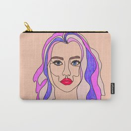 Pink is my favourite colour - single line drawn portrait with coloured pencils Carry-All Pouch