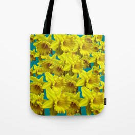 YELLOW SPRING DAFFODILS ON TEAL COLOR ART Tote Bag