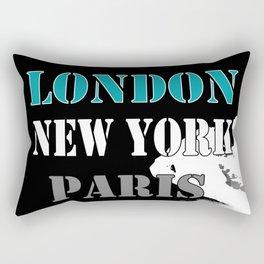 London , New York , Paris. Grunge . Rectangular Pillow