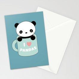 Kawaii I Love Pandas Stationery Cards