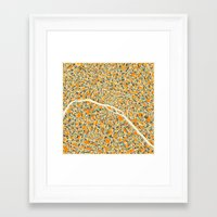 map Framed Art Prints featuring Paris Map by Jazzberry Blue