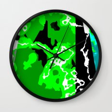 Green Turquoise black and white abstract Wall Clock