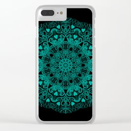 Mandala Project 231 | Teal Green Bohemian Mandaa with Hearts Clear iPhone Case