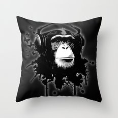 Monkey Business - Black Throw Pillow