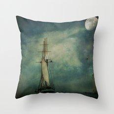 Sail away into the night Throw Pillow