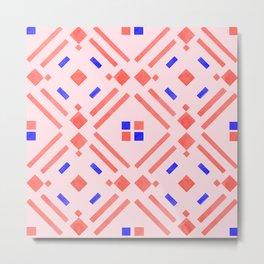 Modern geometrical blush pink coral blue watercolor Metal Print