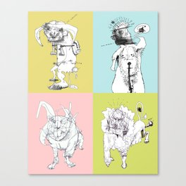 4 Little Animals Canvas Print