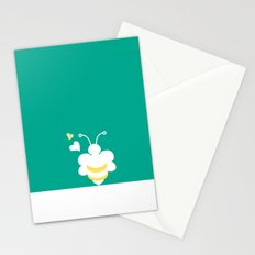 Honey Bee Green Yellow Heart Love Stationery Cards