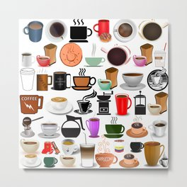Coffee Mugs, Cups and Makers Metal Print
