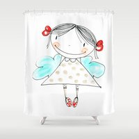cloud Shower Curtains featuring cloud by Little Ell
