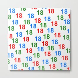 colorful number pattern 18, birthday 18, give 18 Metal Print