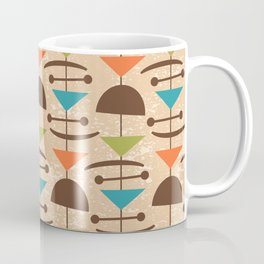 Retro Mid Century Modern Abstract Mobile 642 Brown Turquoise Olive Orange and Beige Coffee Mug
