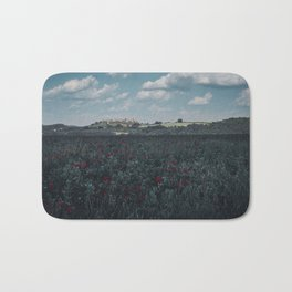 Red flowers in tuscany Bath Mat