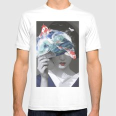 Geisha with Koi Fan. Mens Fitted Tee LARGE White