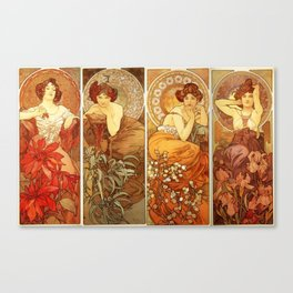 "Alphonse Mucha ""The Gem Series - Ruby, Amethyst, Emerald, Topaz"" Canvas Print"