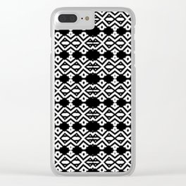 Arrows and Diamond Black and White Pattern 2 Clear iPhone Case