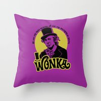 willy wonka Throw Pillows featuring Willy W quote by Buby87