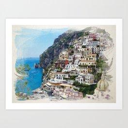 Amalfi Coast Watercolor Style Print, Positano Print, Italy Wall Art, Wall Decor  Art Print