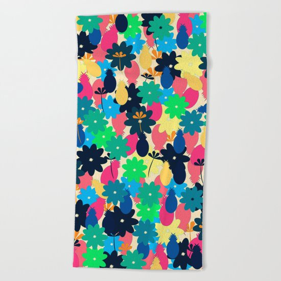 Flowers and pineapples Beach Towel