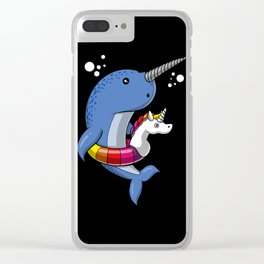 Narwhal Fish Riding Unicorn Float Funny Pool Party Clear iPhone Case