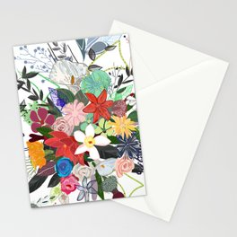 Colorful mix flower bouquet pattern white background Stationery Cards